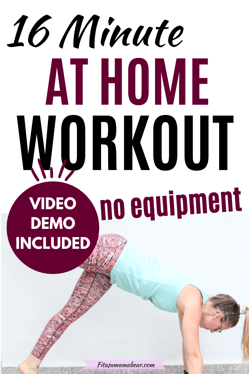 Pinterest image with text: woman in blue shirt and orange shirt performing a bodyweight exercise as part of an EMOM workout