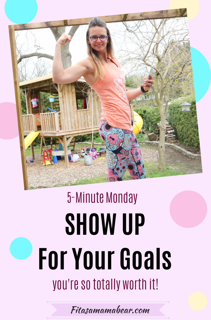 Pinterest image with text: pink block with colorful circles and a picture of a woman in a peach shirt flexing her bicep in her backyard