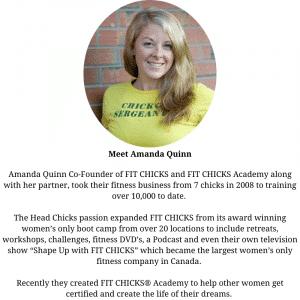 Womens bio: headshot of a women in a yellow shirt wih text biography underneath