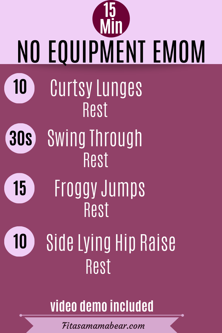 Pinterest image with text: pink background with text outlining an at home workout