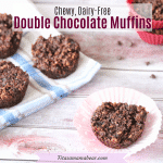 Facebook image with text: oatmeal chocolate muffin on a muffin liner with more muffins on a blue linen behind it
