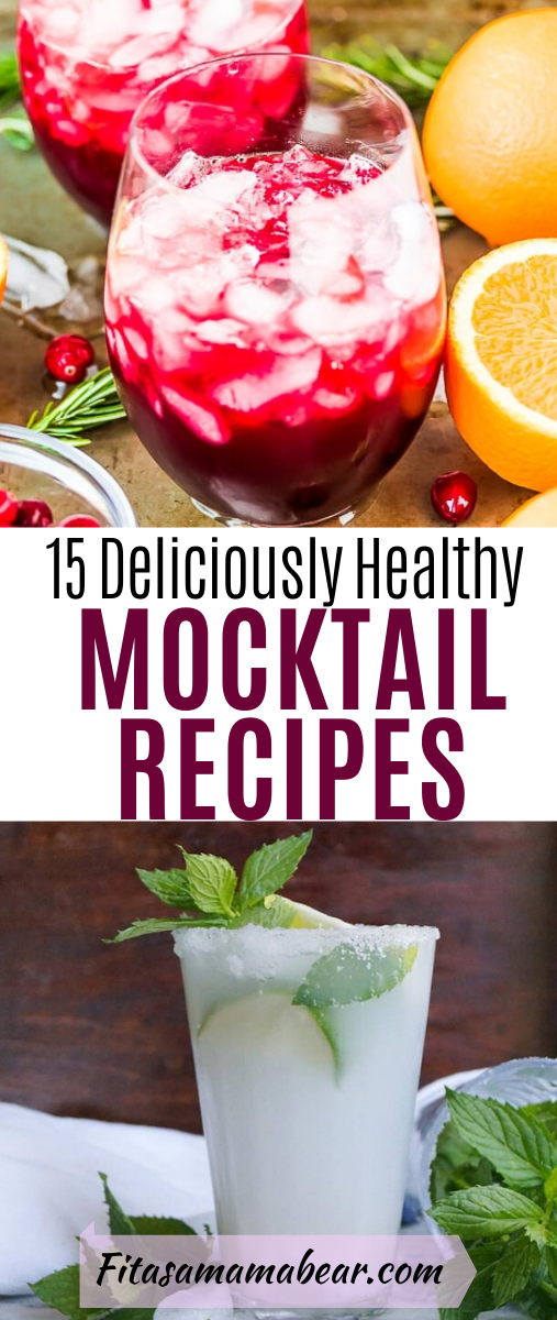 Pinterest image with text: collage of bright, healthy mocktail recipes with text overtop