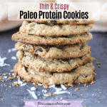 Pinterest image with text: protein cookies stacked