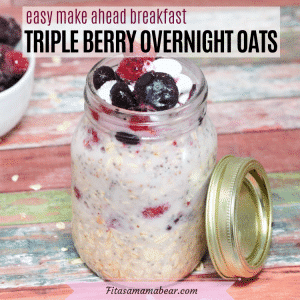Featured image with text: overnight oats in a mason jar with berries on top and in a white bowl behind it