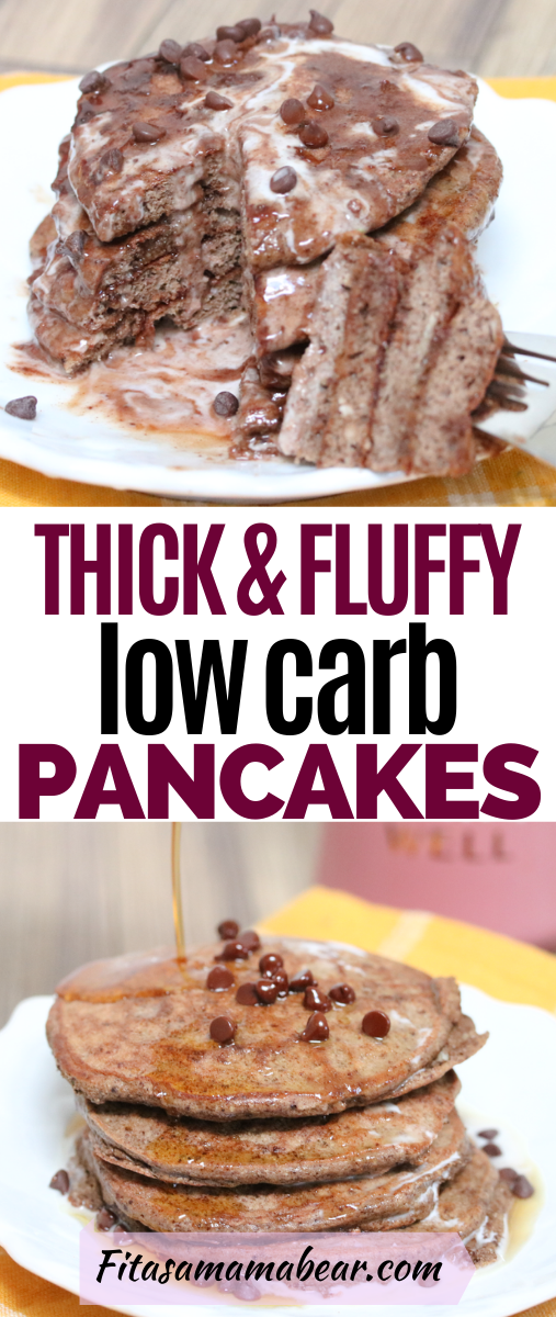 Pinterest image with text: chocolate low carb pancakes stacked on a white plate with a forkl full on the side. Plate on a yellow linen with a link mug behind it