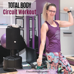 Featured image with text: woman in purple shirt and bright pants in a gym flexing her arm muscle