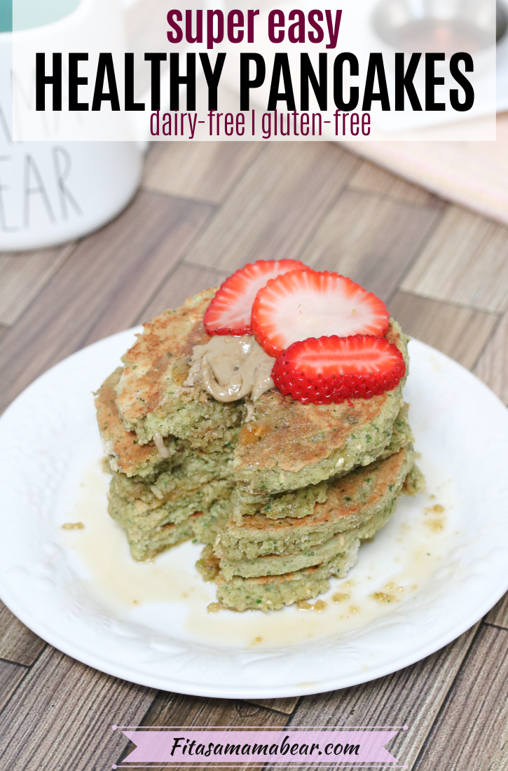 Pinterest image with text: Healthy gluten-free pancakes stacked on a white plate with strawberries on top and a white mug behind it