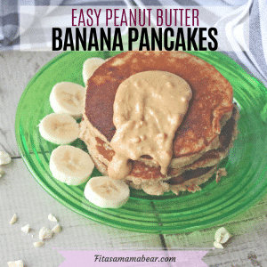Facebook image with text: peanut butter pancakes stacked on a green plate wit peanut butter on top and bananas around the pancakes