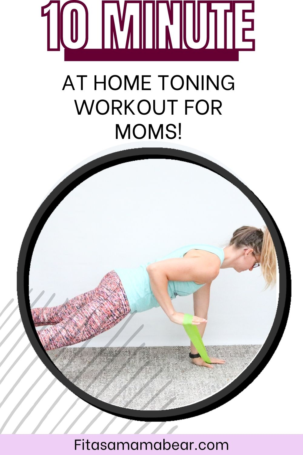Pinterest image with text: woman in gree shirt and bright pants performing an exercise with a mini loop