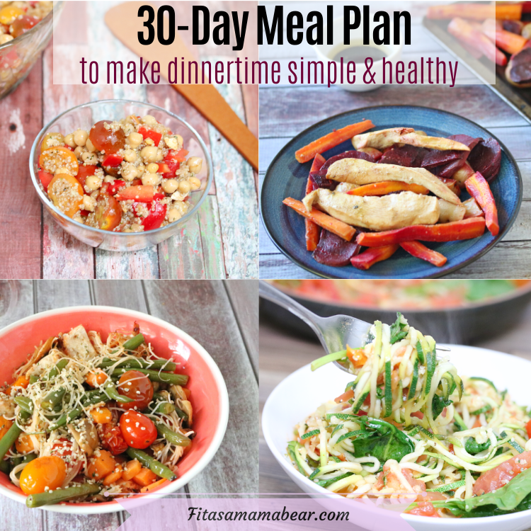 Featured image with text: multiple images of healthy dinner food