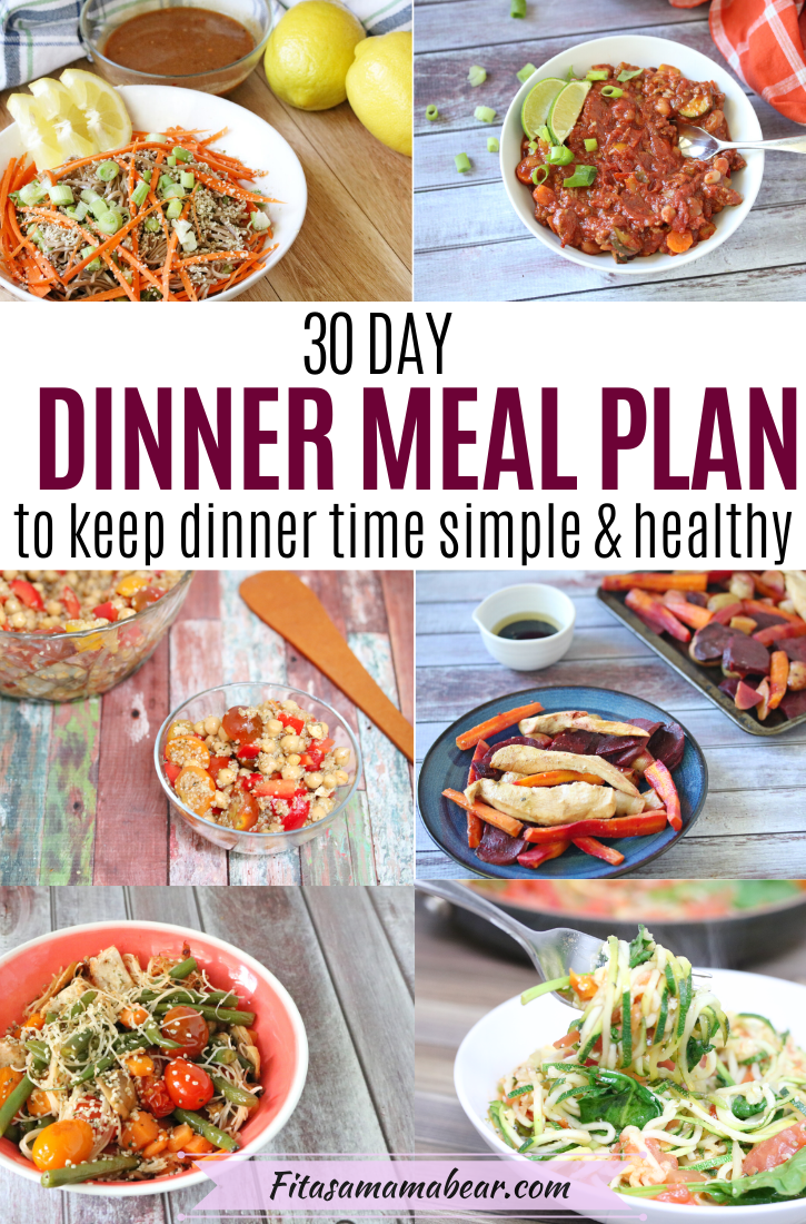 Pinterest image with text: multiple images of healthy dinner food