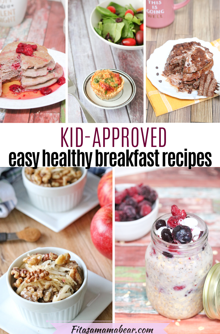 Pinterest image with text: collage of healthy breakfast recipes. Pancakes, quiche, oatmeal.