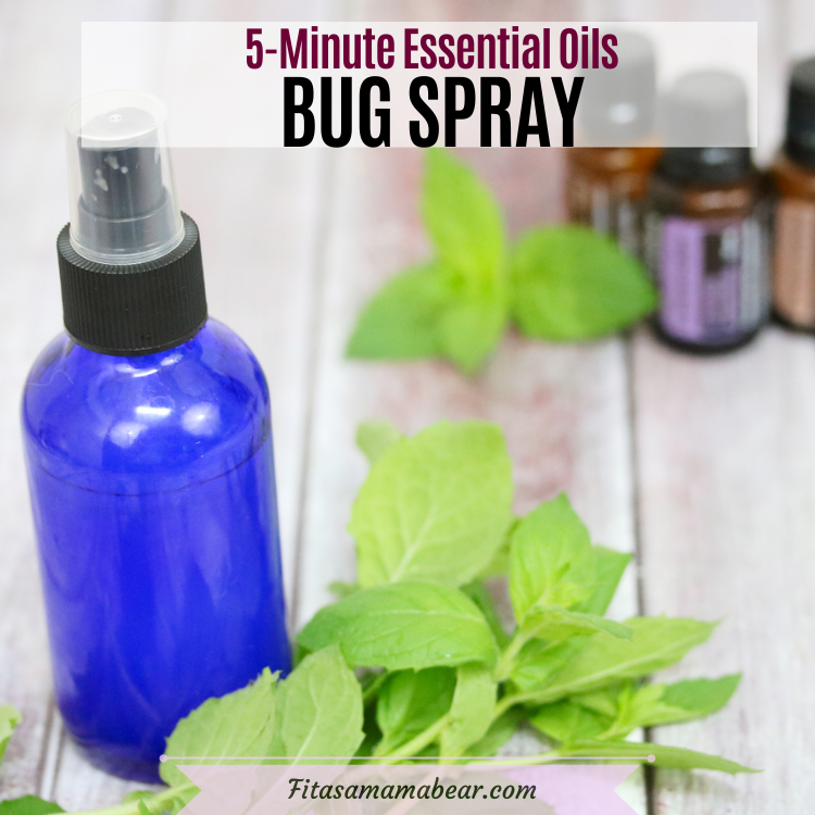 Pinterest image with text: blue cobalt spray bottle with bug spray and mint leaves and essential oils behind it