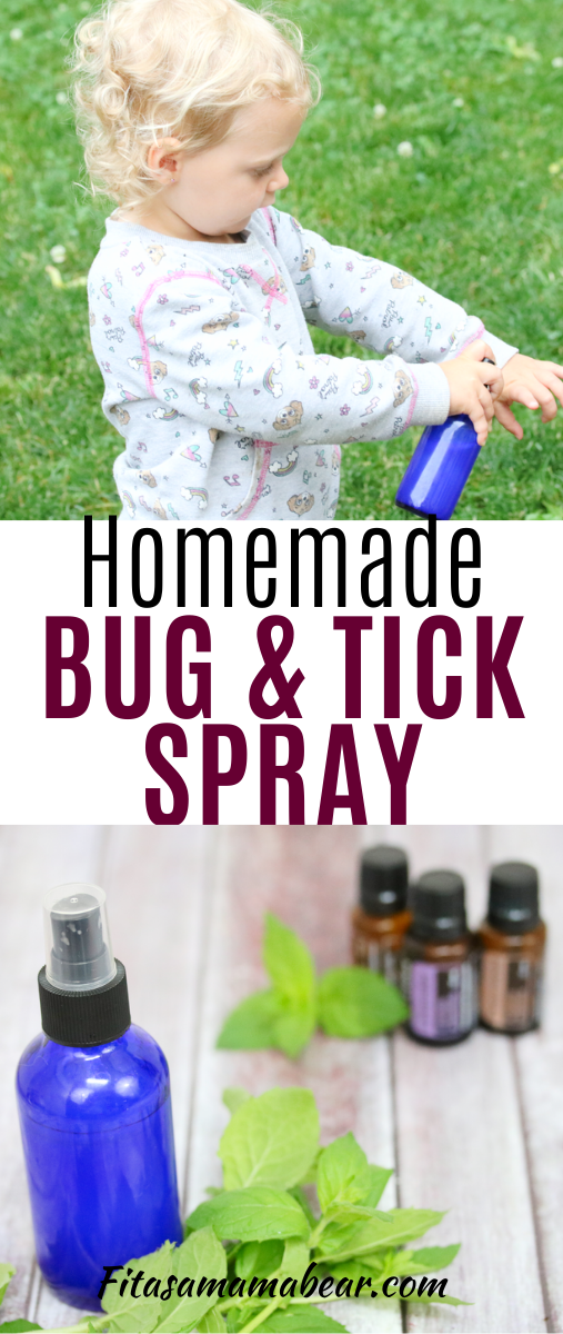 Pinterest image with text: blue cobalt spray bottle with bug spray and leaves and essential oils behind it and a kid spraying the spray on their arm