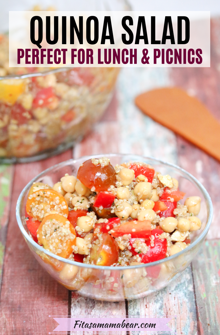 Pinterest image with text: Chickpea and quinoa salad with tomatoes and peppers in a glass bowl with more salad in a bowl behind it. Spatula on side.