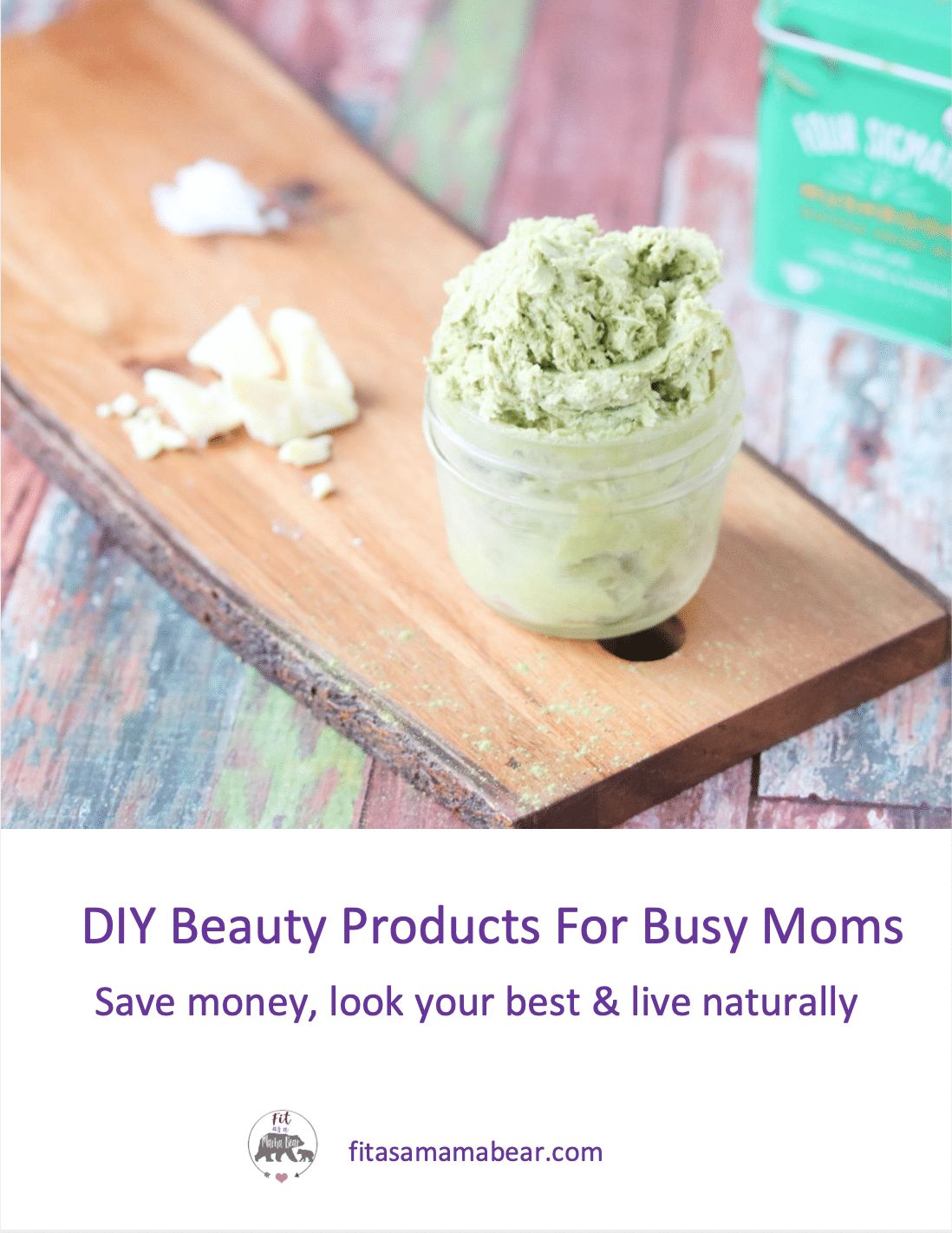 Book cover image with text: homemade matcha body butter in a mason jar on a cutting board. Ingredients for the butter like cacao butter and matcha around it