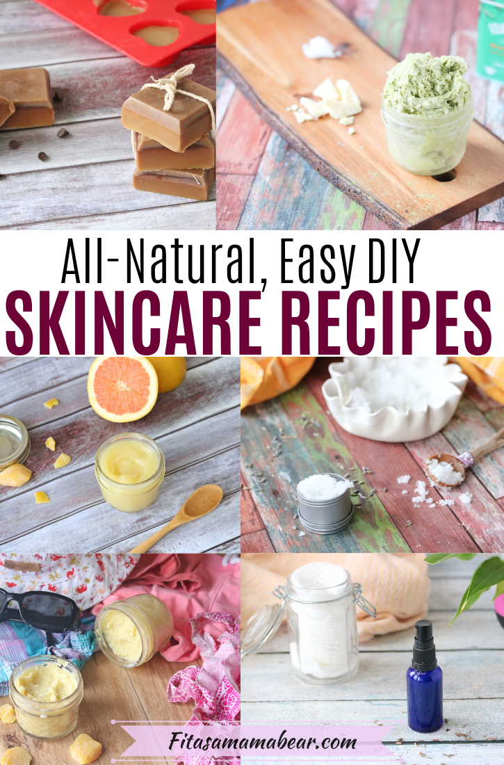 Pinterest image with text: multiple DIY skin care recipes in a collage