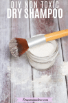 Pinterest image with text: DIY dry shampoo in a glass jar with a makeup brush on top