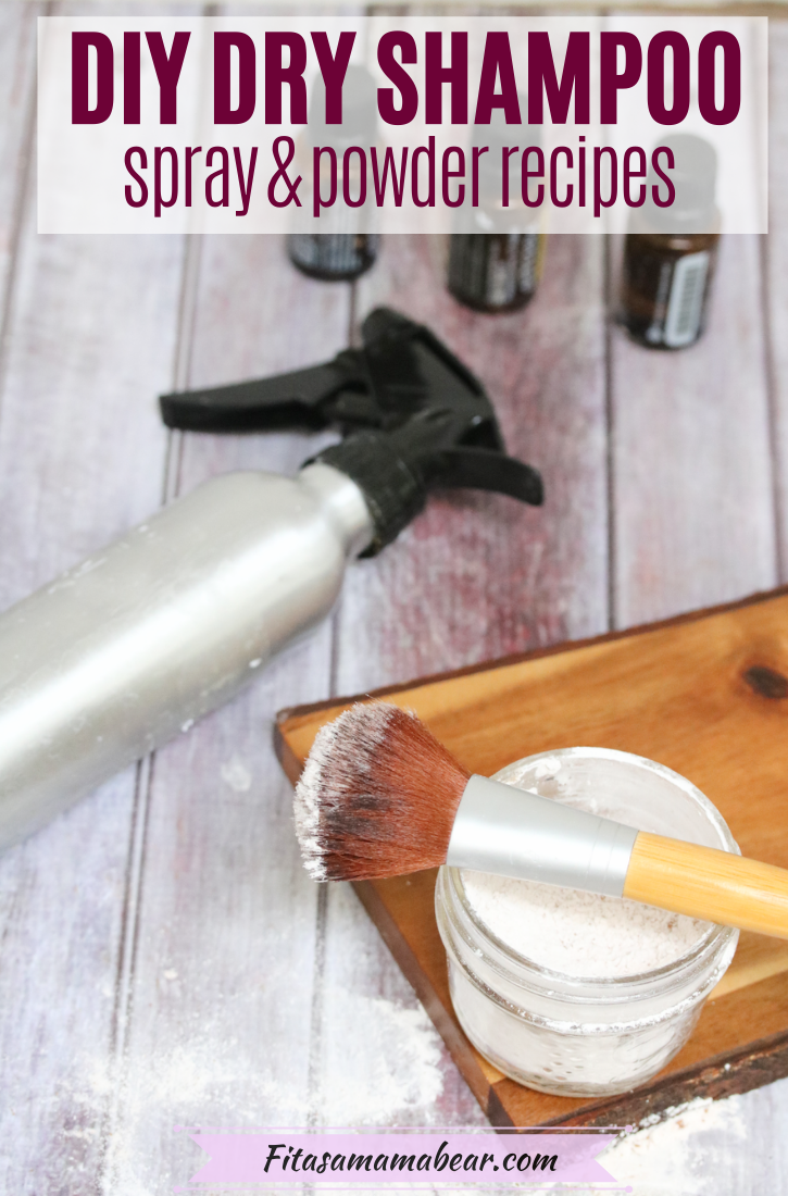 Pinterest image with text: dry shampoo in a glass jar with a brush on a cutting board with a spray bottle and essential oils behind it