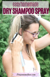 Pinterest image with text: woman using a dry shampoo spray and spraying it into her hair