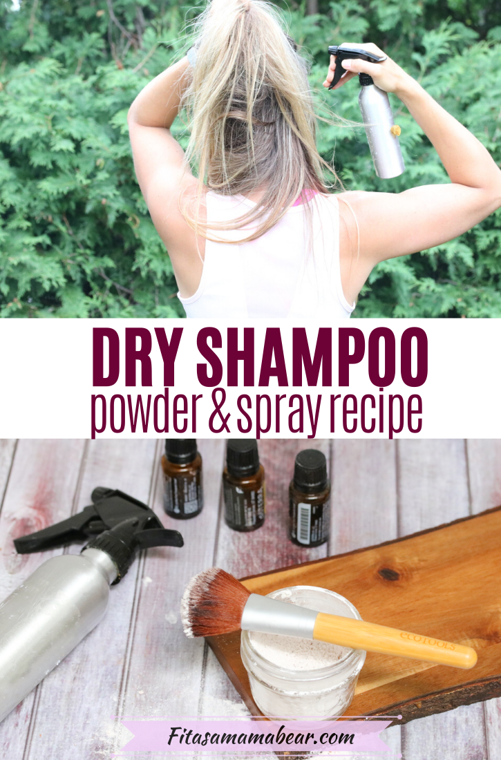 Pinterest image with text: top image of woman using dry shampoo spray on hair and bottom image of dry shampoo in glass jar on a cutting board