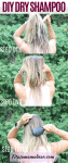 Pinterest image with text: three images of how to use dry shampoo with a makeup brush outside