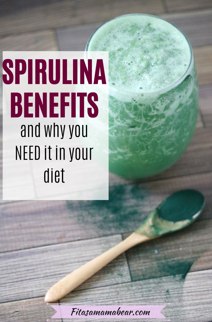 Pinterest image with text: white bowl with algae powder in it and spoonful on the side with a green spirulina smoothie behind it