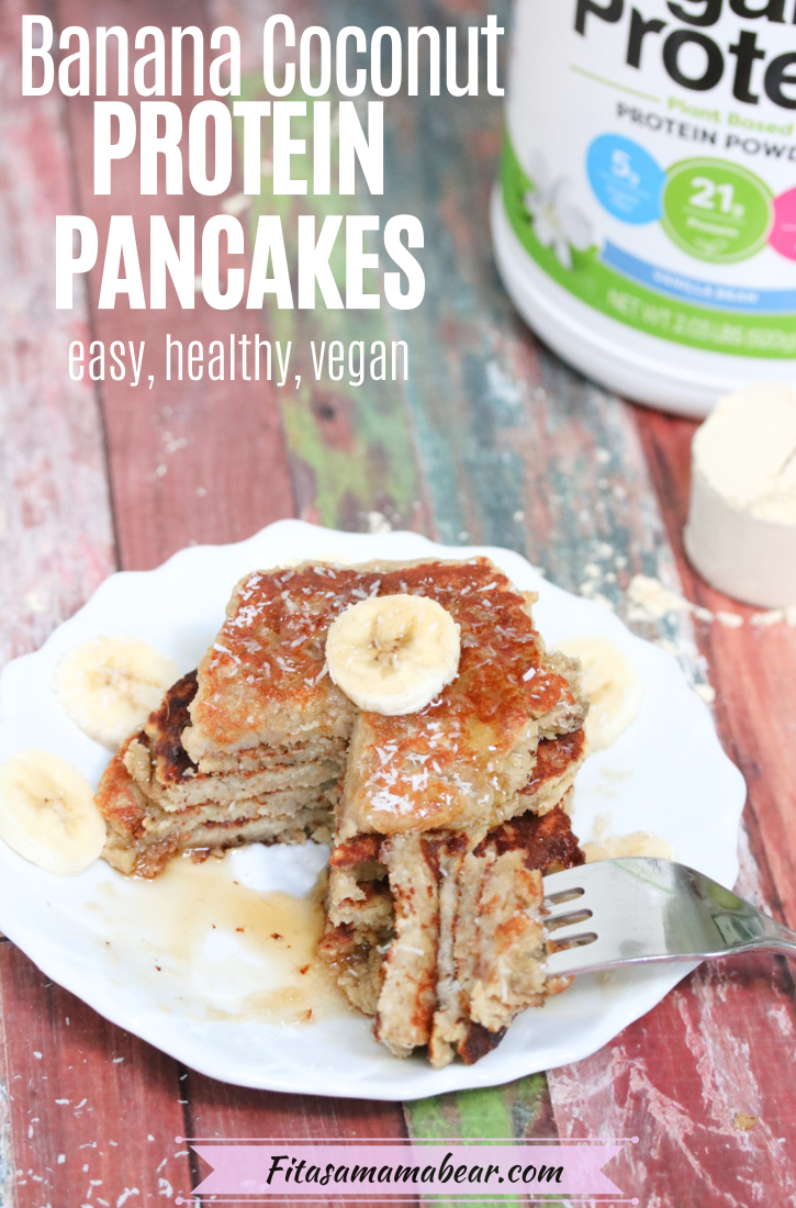 Pinterest image with text: banana protein pancakes stacked on a white plate with coconut on top, protein powder in the background