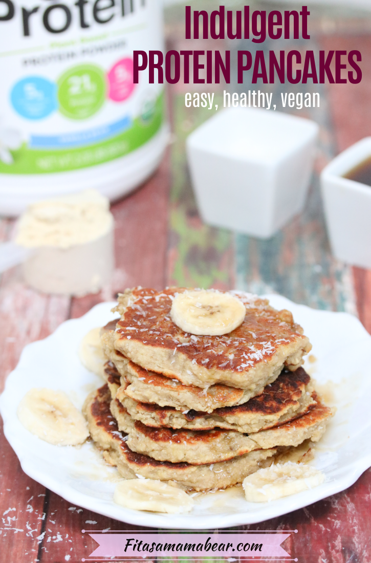 Pinterest image with text: five pancakes stacked on a white plate with coconut on top, protein powder in the backgroundPinterest image with text: banana protein pancakes stacked on a white plate with coconut on top, protein powder in the background