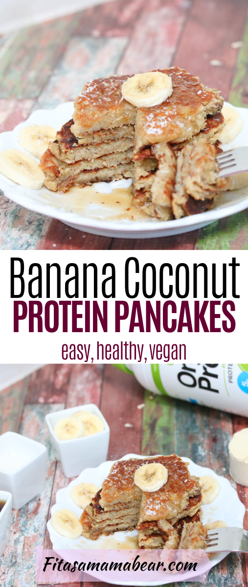 Pinterest image with text: vegan banana protein pancakes stacked on a white plate with coconut on top, protein powder in the background