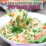 Featured image with text: spicy zucchini noodle pasta (zoodles) with tomatoes spiralized on fork