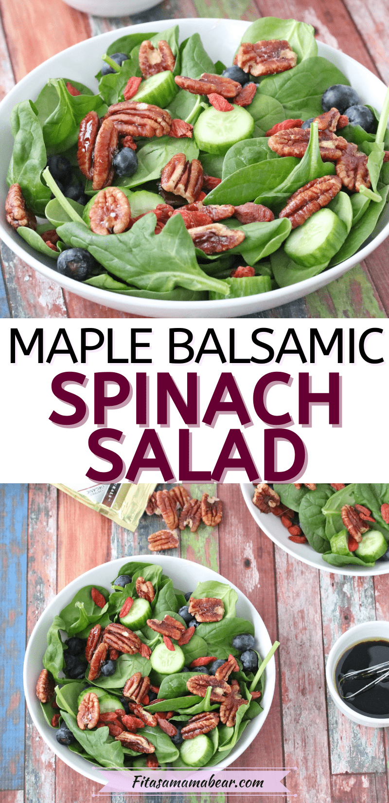 Pinterest image with text: Spinach salad with pecans in a white bowl with another bowl of salad behind it and pecans on the table