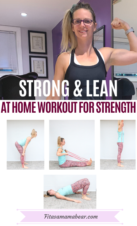 Pinterest image with text: woman in black shirt and purple shorts flexing her arm muscle in an at home gym with exercise demos on a white background below it and text about a strength training workout at home