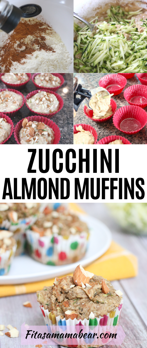 Pinterest image with text: two images. One of in process shots and the other almond zucchini muffin in a polkadot muffin cup in front of more muffins on a white plate and yellow napkin