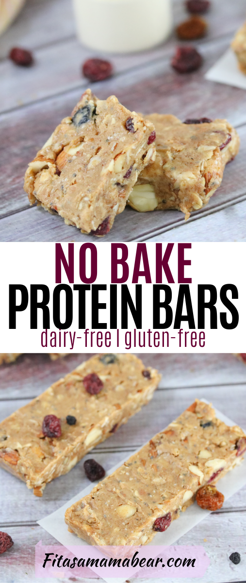 Pinterest image with text: two images of homemade protein bars with cranberries and nuts around them