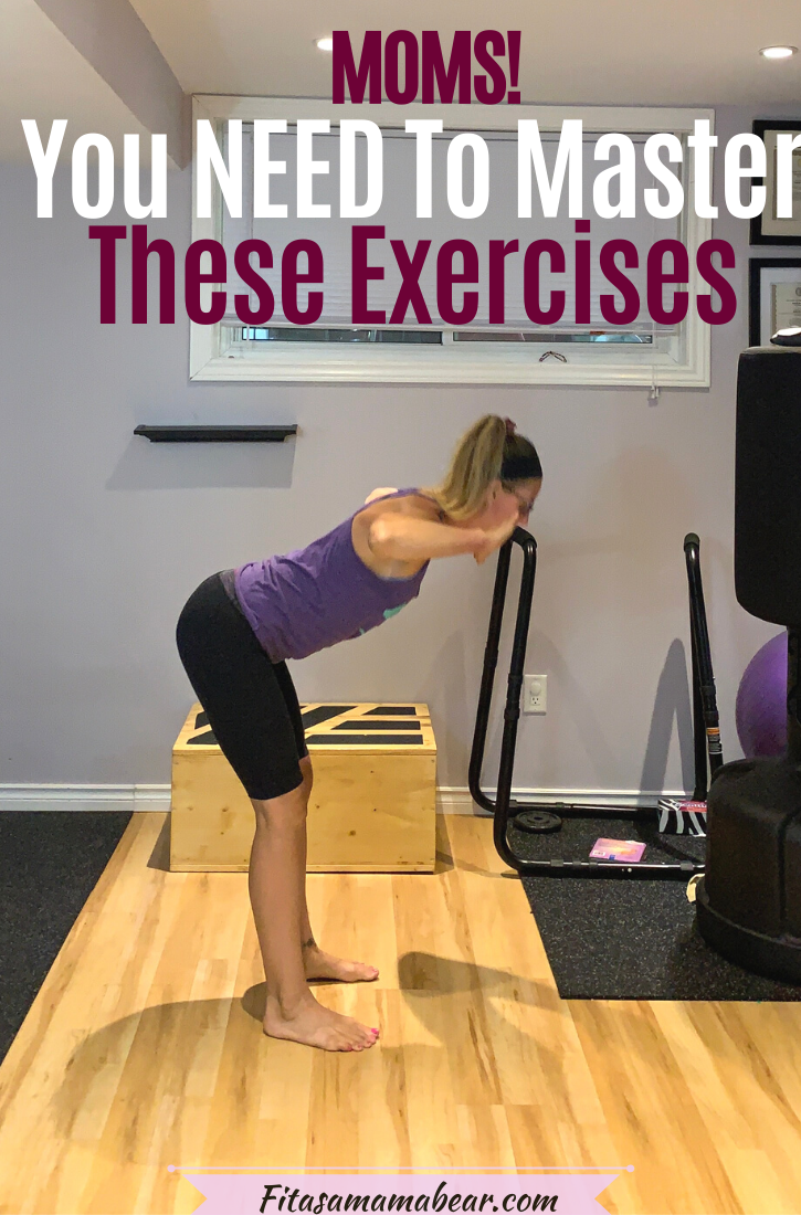 Pinterest image with text: woman in purple shirt and black pants performing one of the best exercises at home