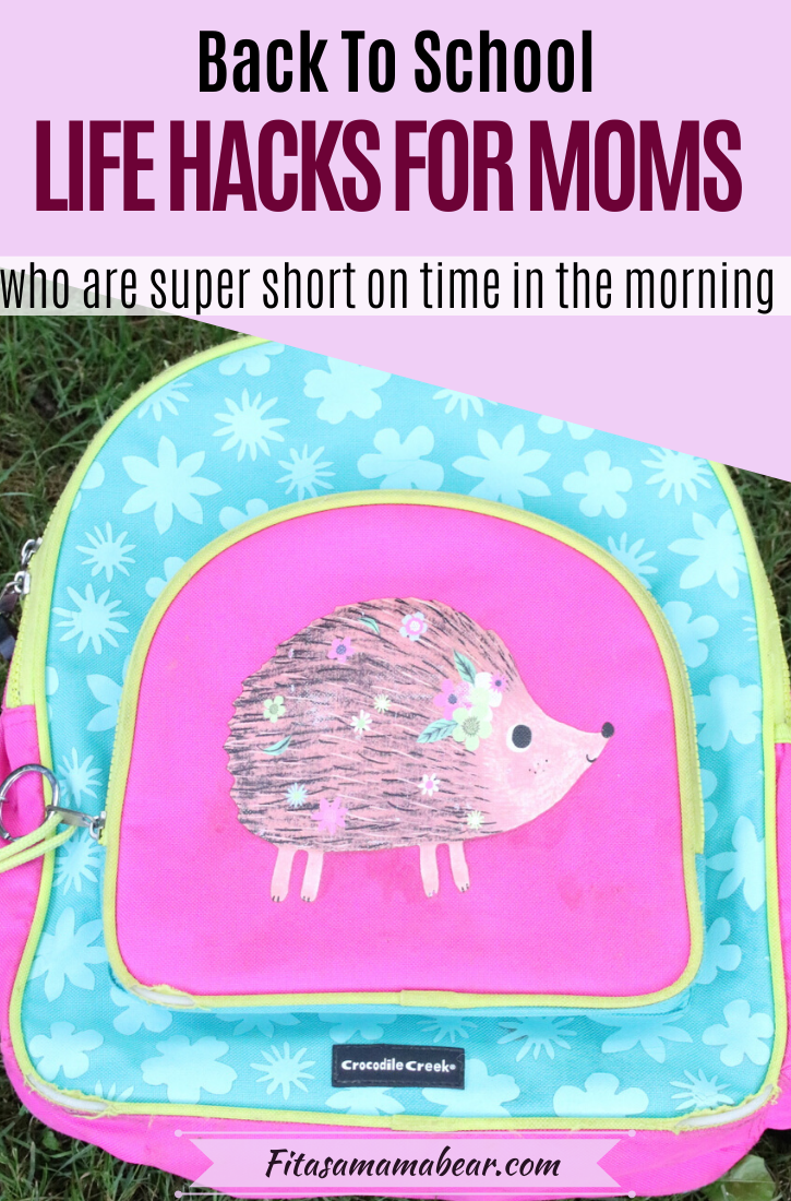Pinterest image with text: pink and blue backpack with a hedgehog on it outside against stone bricks with text about organization tips
