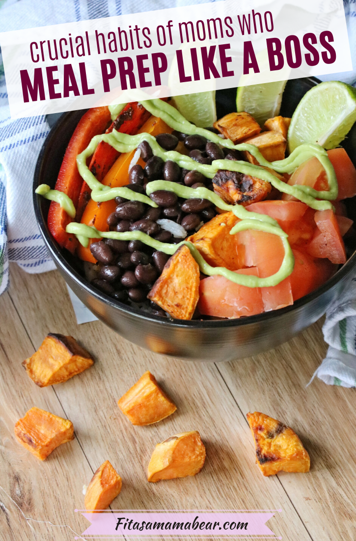 Pinterest image with text: vegan burrito bowl with lime, avocados, sweet potatoes, black beans all in a black bowl