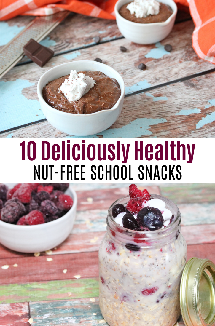 Pinterest image with text about snack ideas: two images, the top of chocolate pudding in a white bowl and the bottom ov overnight oats in a mason jar