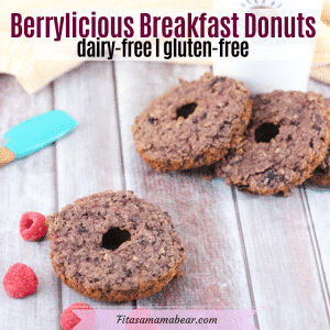 Pinterest image with text: homemade donuts around a coffee mug and one by itself with raspberries around it