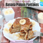 Featured image with text: banana protein pancakes stacked on a white plate with coconut on top, protein powder in the background