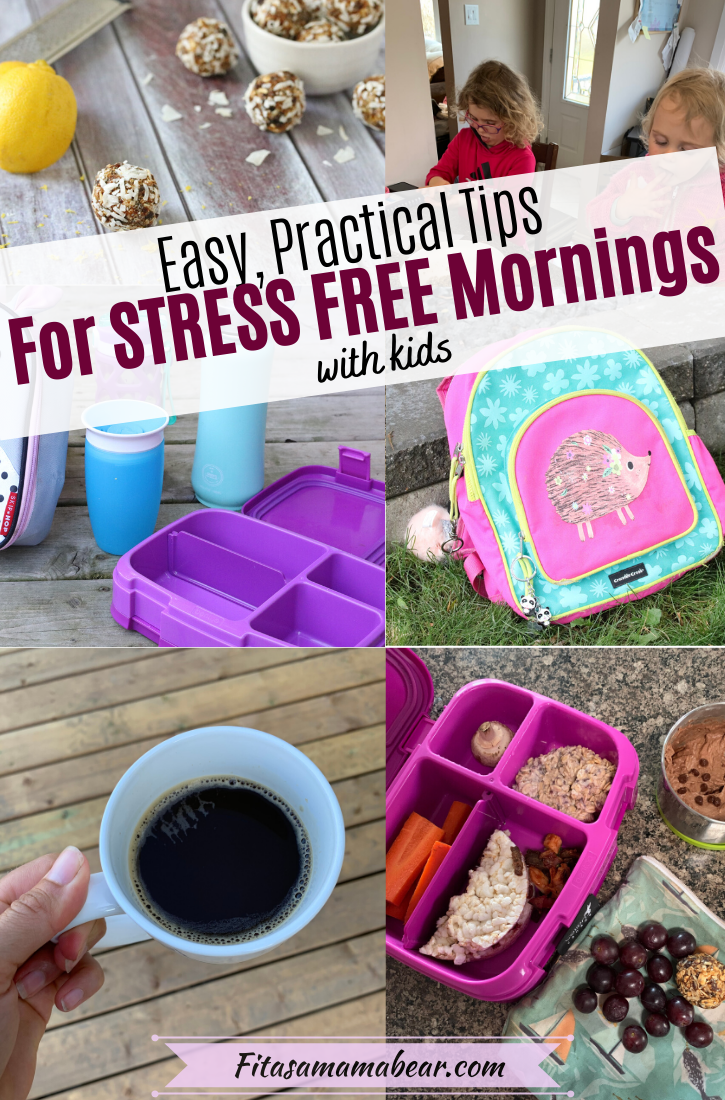 Pinterest image with text: collage image of back to school images: lunch boxes, backpacks, coffee with text about a stress free morning routine