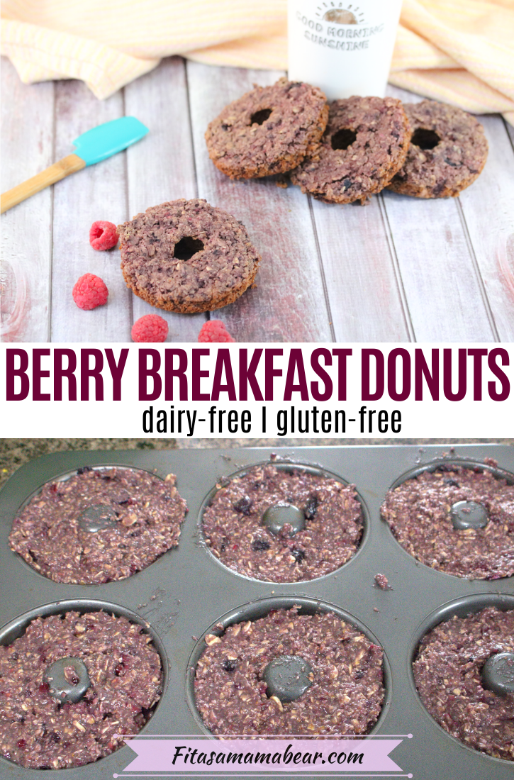 Pinterest image with text: homemade donuts around a coffee mug and one by itself with raspberries around it. Second image of donuts being cooked