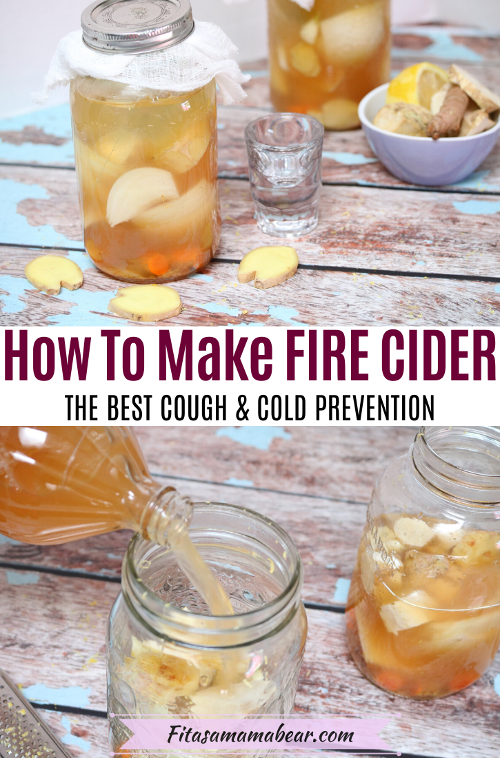 Pinterest image with text: homemade fire cider in two bit mason jars with garlic, ginger and lemon in a bowl beside it and ginger around the jars