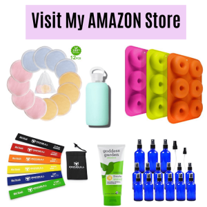 Featured image with text: collage of eco friendly products on a white background. Silicone donut tray, water bottles, spray bottles, sunscreen and bamboo makeup pads