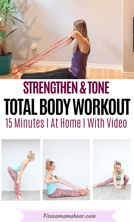 Pinterest image with text: multiple images, the top of a women in a purple shirt and black pants performing a resistance band upper body exercise the other images of the woman performing more resistance band exercises at home