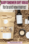 Pinterst image with text: multiple postpartum products for new moms: a candle, a bag of bath salts and essential oils in a box