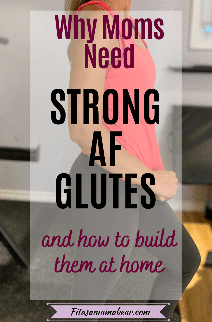 Pinterest image with text: shot of a womans torso, hips and legs in a bright shirt and dark pants with a text block over top talking about the benefits of strong glutes