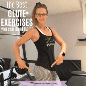 Featured image with text: woman in black shirt and white pants in the gym pointing to her glutes