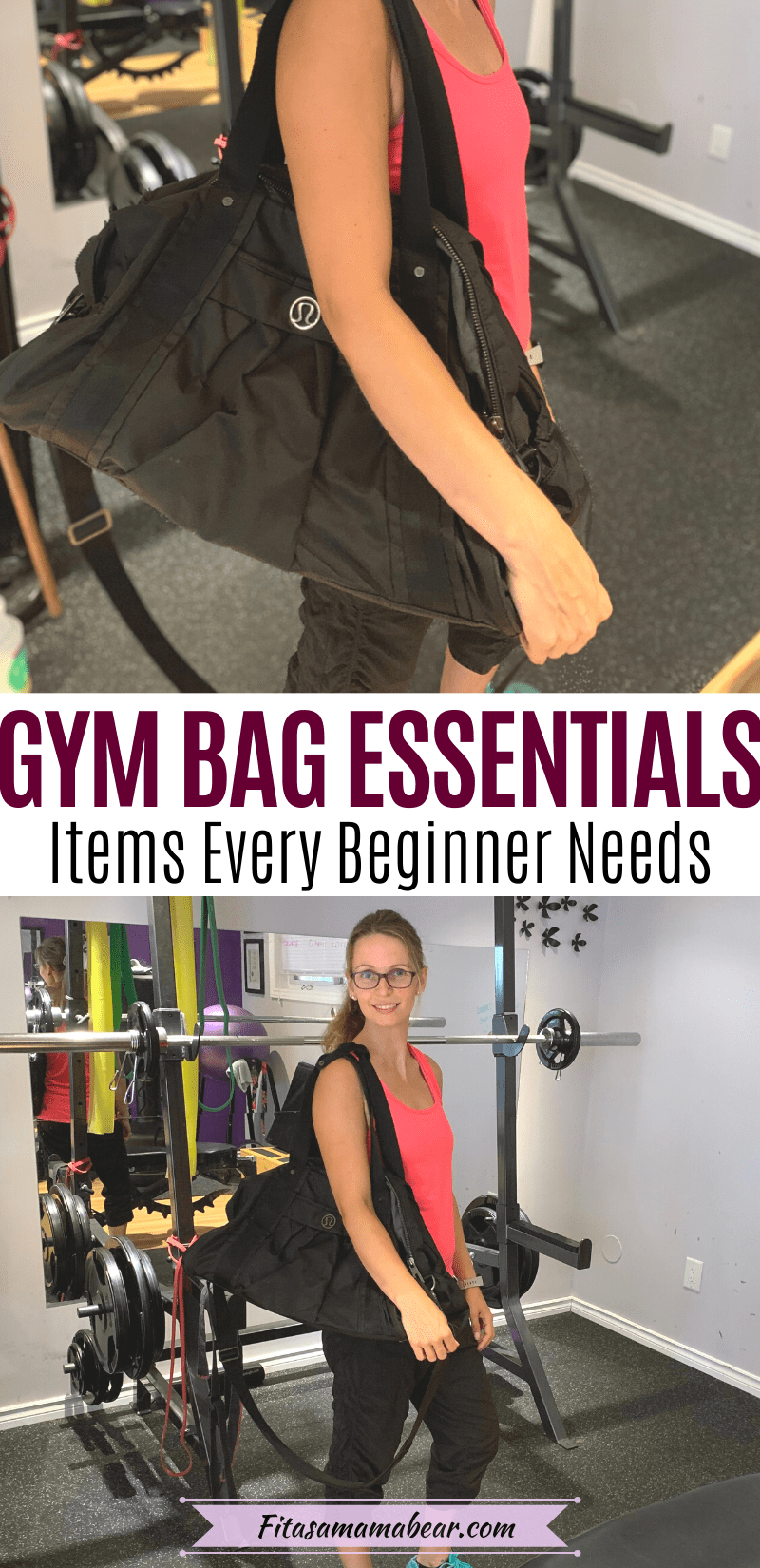 Pinterest image with text: Featured image with text: two images, the bottom of a woman in pink shirt in the gym with a gym bag over her shoulder looking at the camera and the top is a closeup of the bag